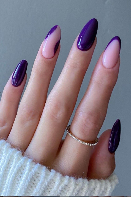 Purple almond nails design