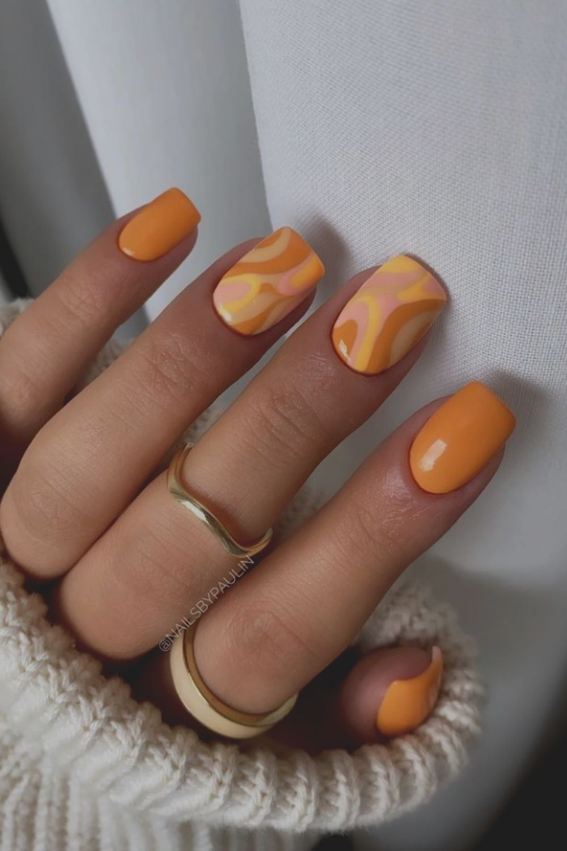Orange and yellow nail
