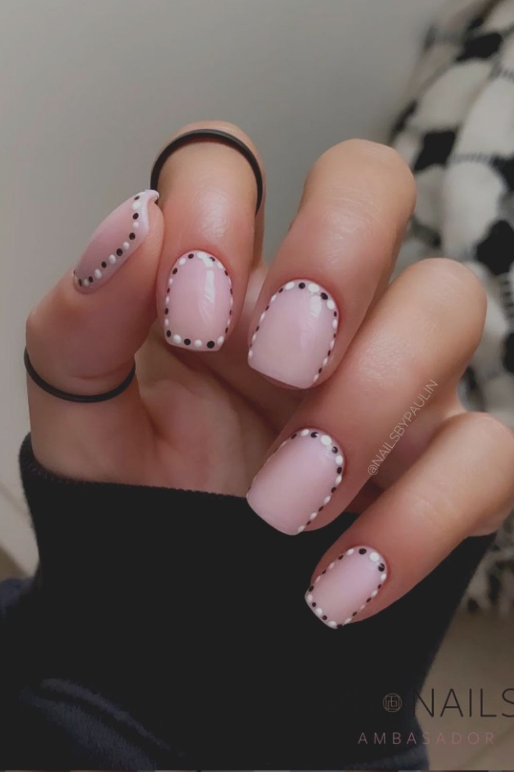 Cute little black and white dots and pink designs