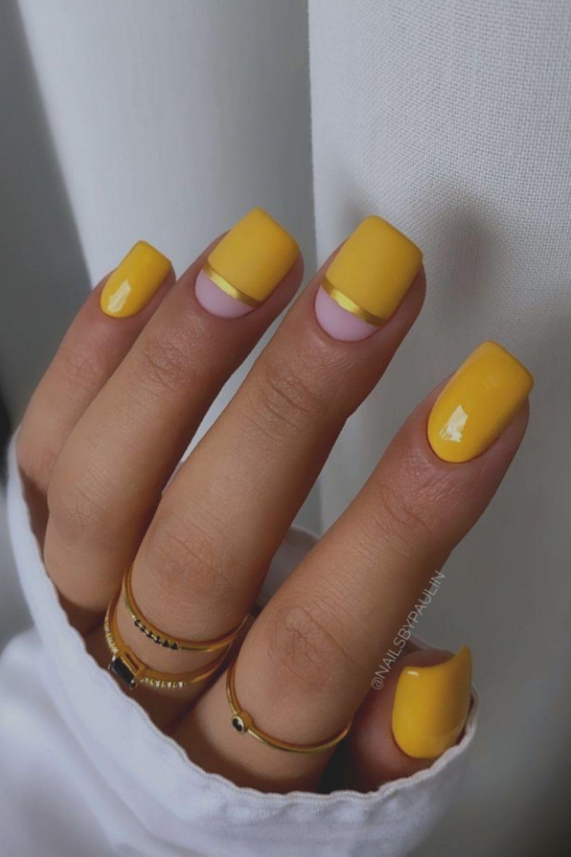 Beautiful yellow and glod short square nails