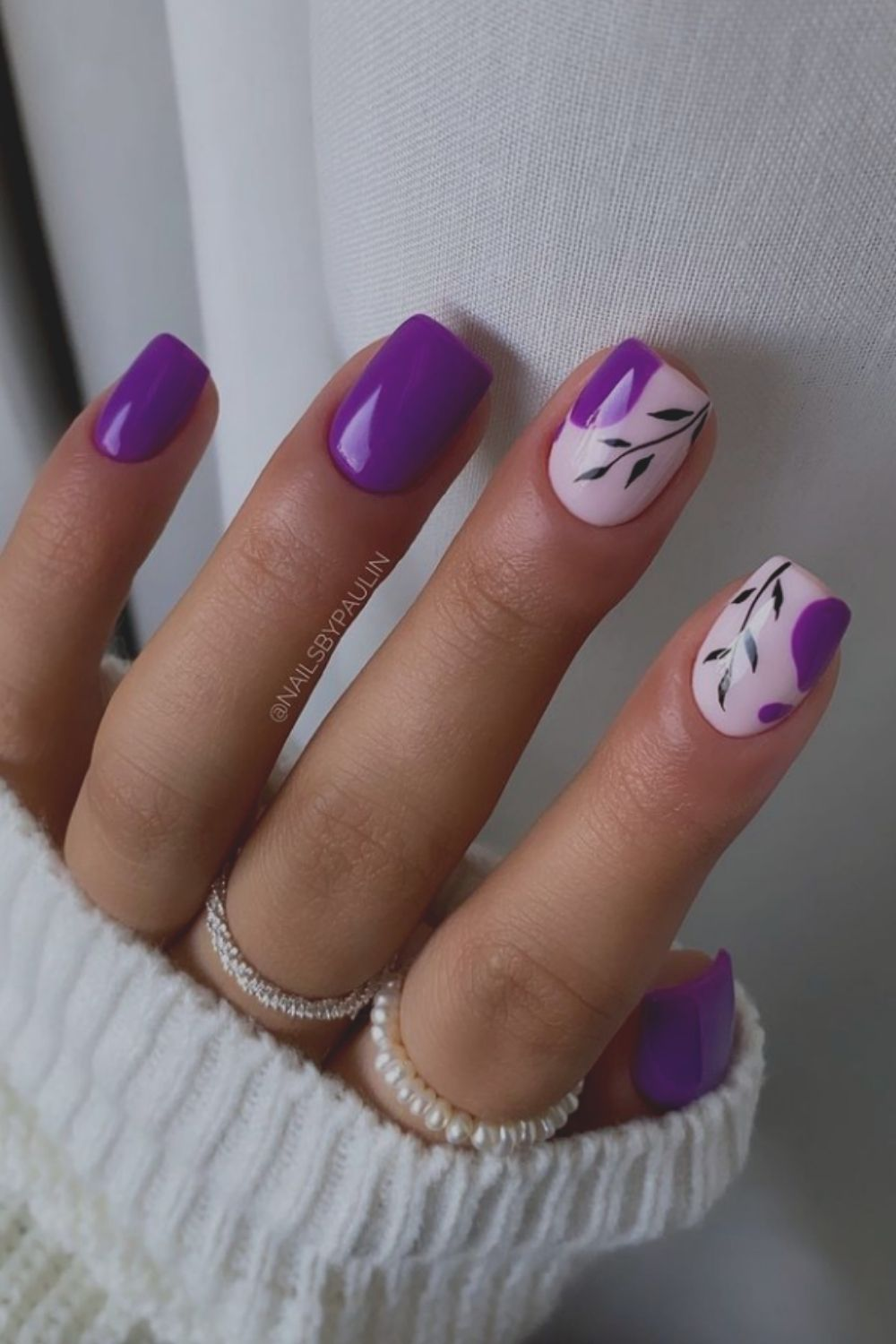 Leaves and purple come together