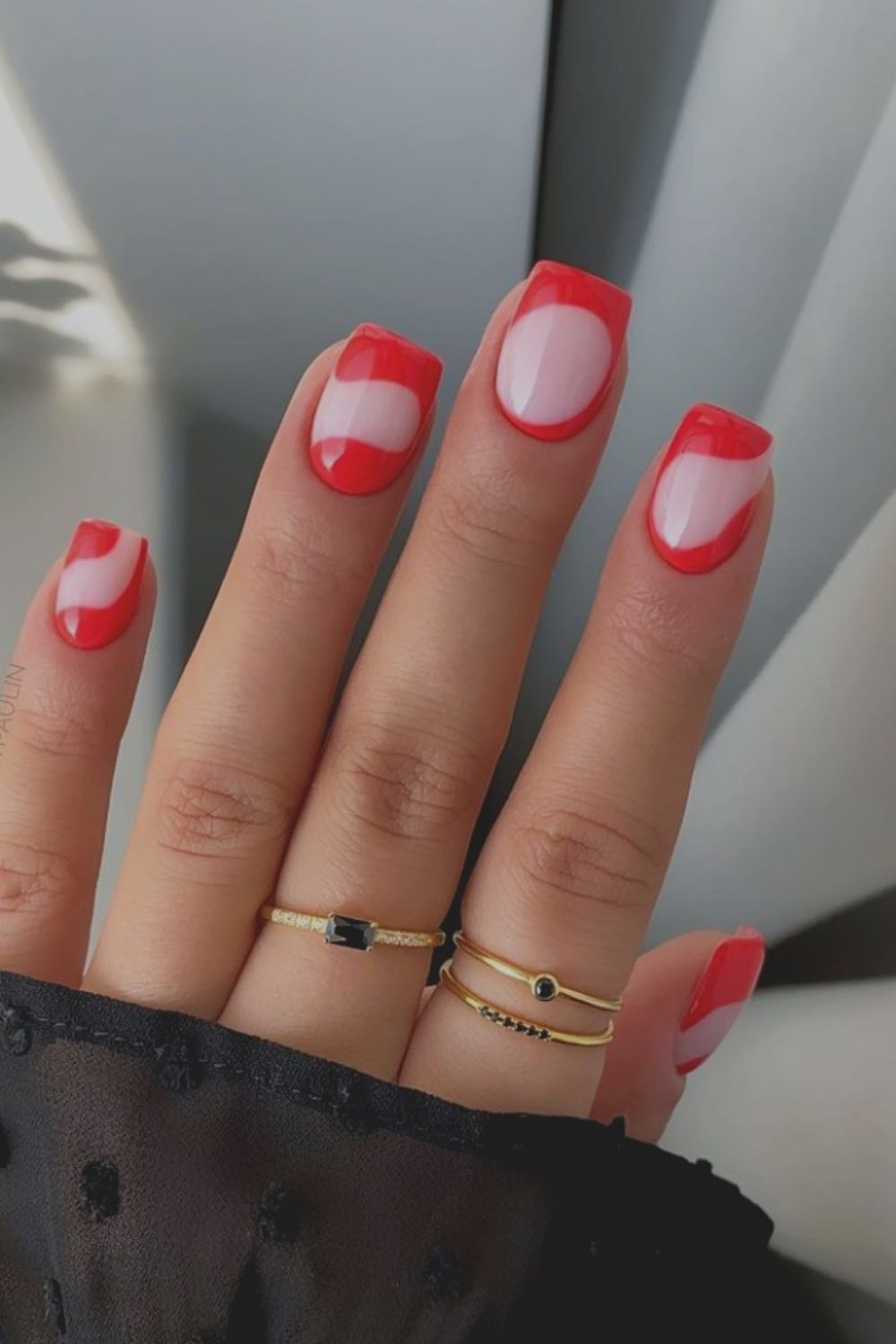 Cute short square nails with mixed colors