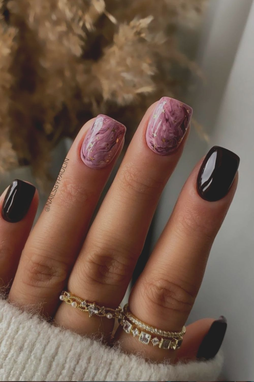 Purple and black square nails