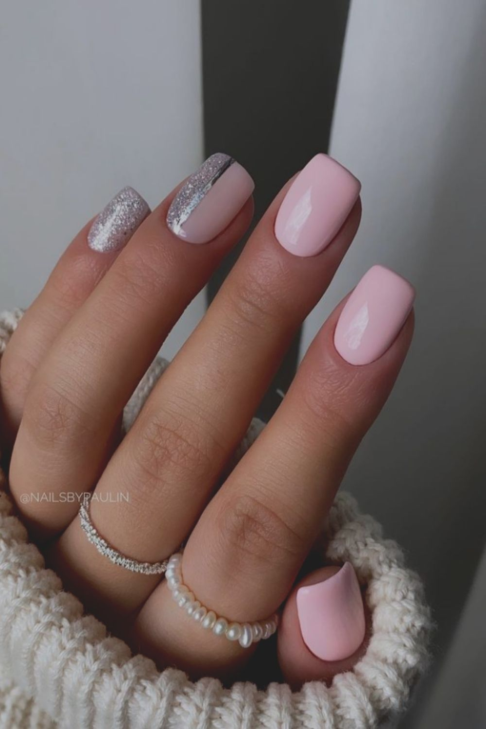 Light Pink Square Acrylic Nails Designs 2021