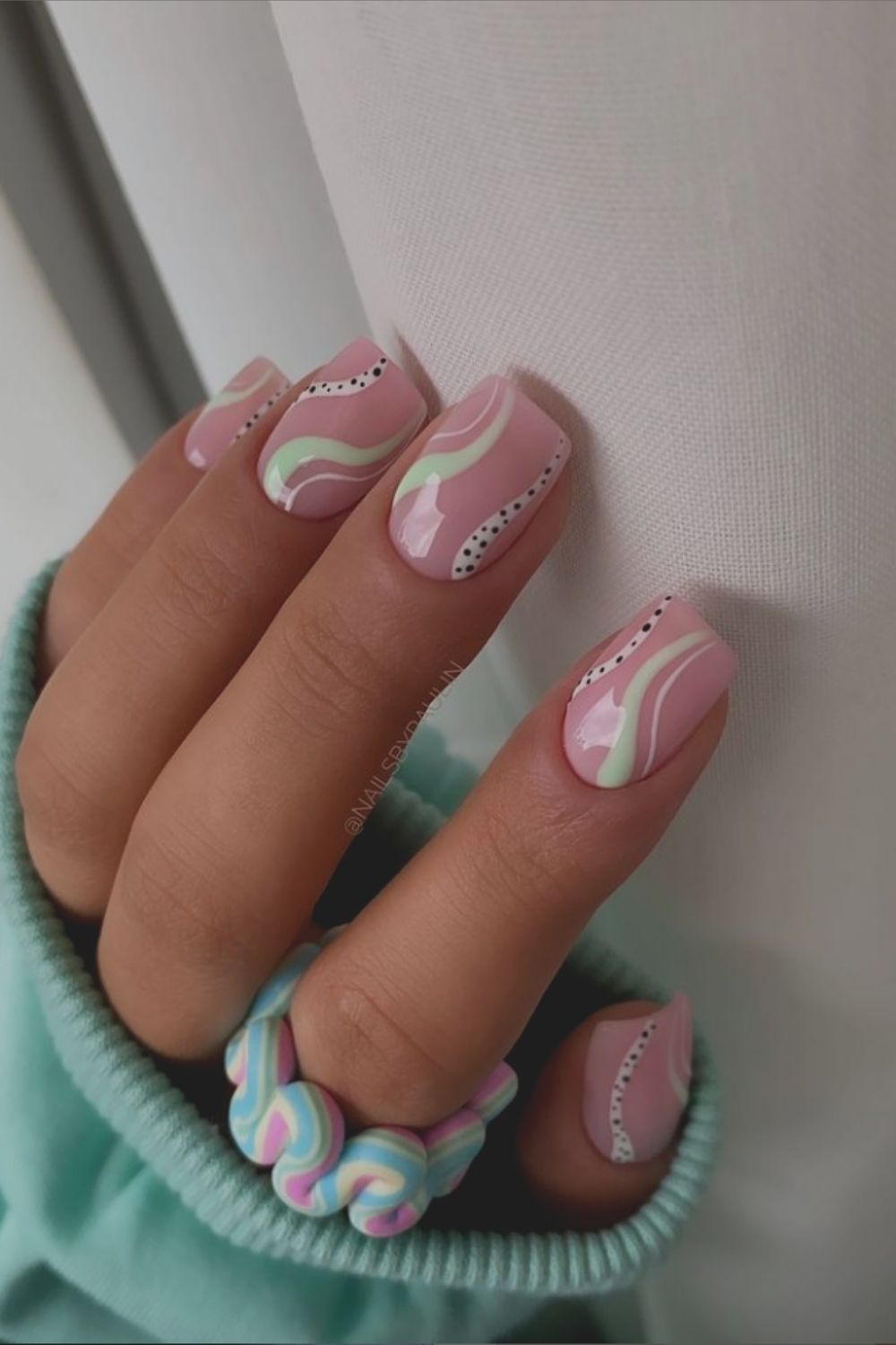 Neon and pink , white nails