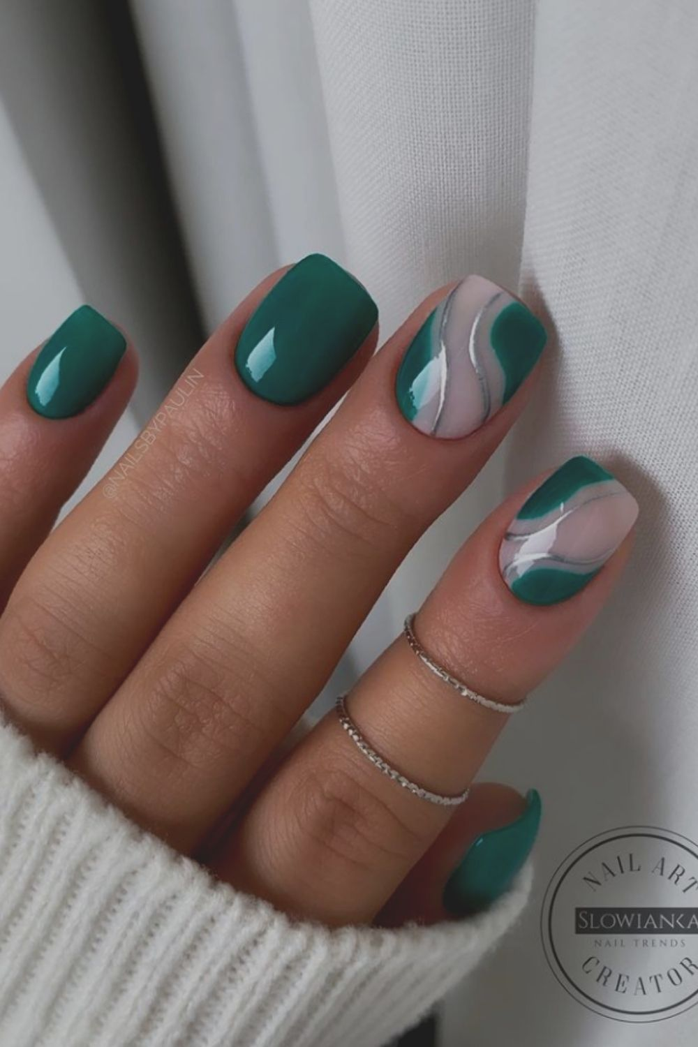 Green and white nails designs