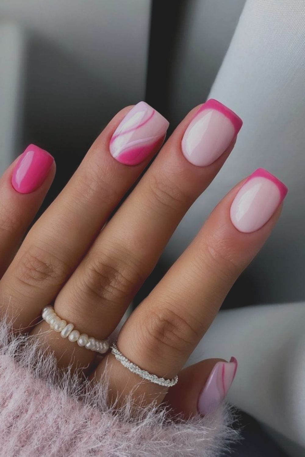 Pink French tip nail designs